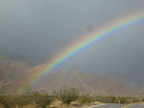 There were multiple rainbows as the storm blew in and out of the Anza Borrego Desert