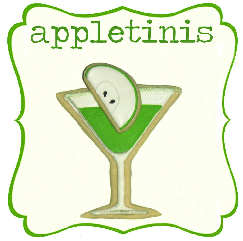 apple martini appletini sugar cookie royal icing frosting green fruit ...