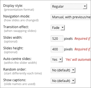 Content slider options
