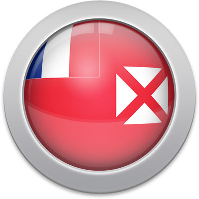 Wallis and Futuna flag icon with a silver frame