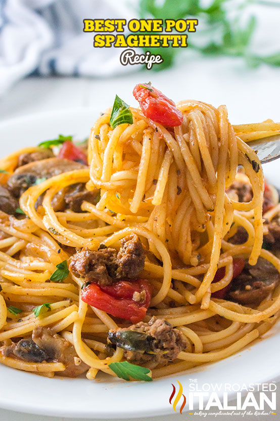 Plate of Best One Pot Spaghetti