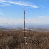 180 15m tower with stacked yagis and 80m wire beam support as viewed from 120 10m tower. Looking west towards Skyline Dr. Shenandoah
