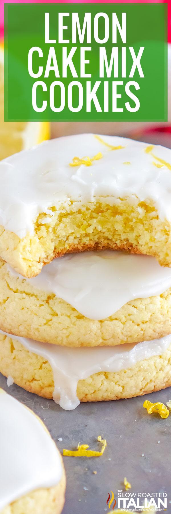 Lemon Cake Mix Cookies closeup