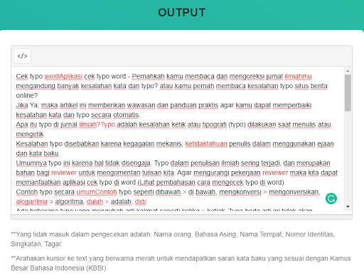hasil Chek online typograp
