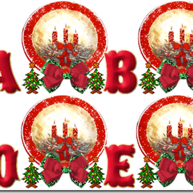 Gratis, letras Alpha animadas con velas Navidad