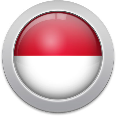 Indonesian flag icon with a silver frame