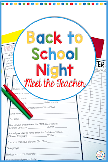 Forms for back to school night meet the teacher