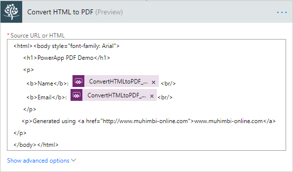 Muhimbi's SharePoint Blog: Convert PowerApps data to PDF