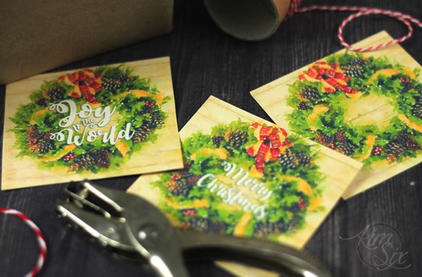 Watercolor wreath gift tags