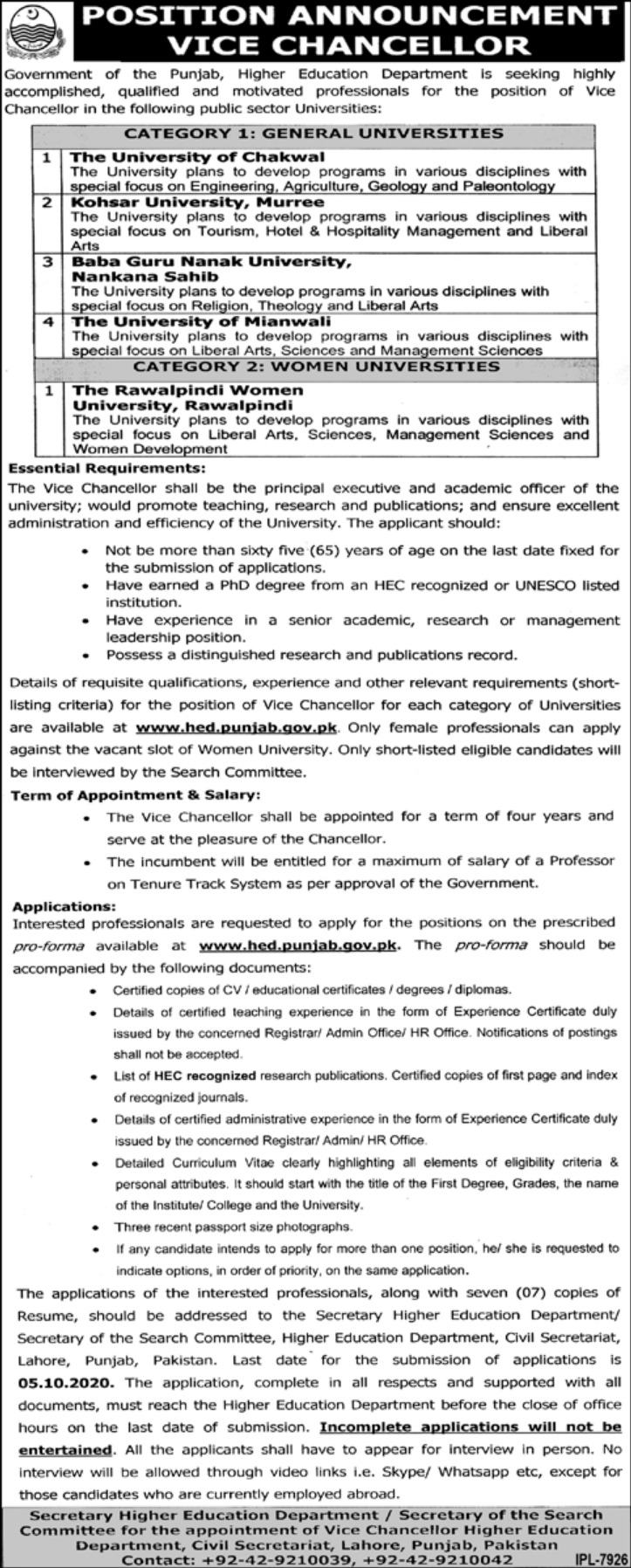 Higher Education Department Punjab Jobs September 2020
