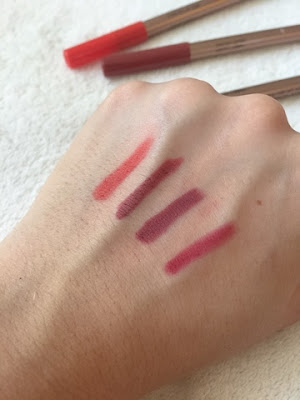 Kiko comfort lip liners swatches