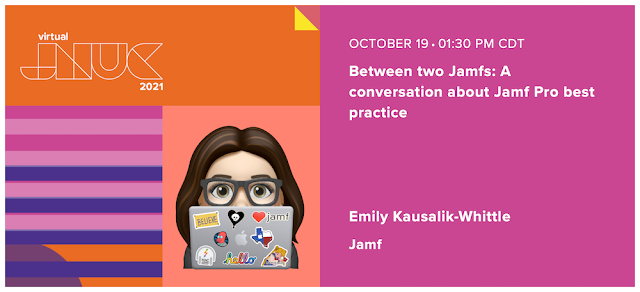 Speaker card for Emily Kausalik-Whittle at the virtual Jamf Nation User Conference 2021