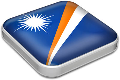 Flag of Marshall Islands with metallic square frame