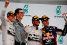 2014 Malaysian F1 GP podium: Nico Rosberg, Andrew Shovlin, Lewis Hamilton, Sebastian Vettel