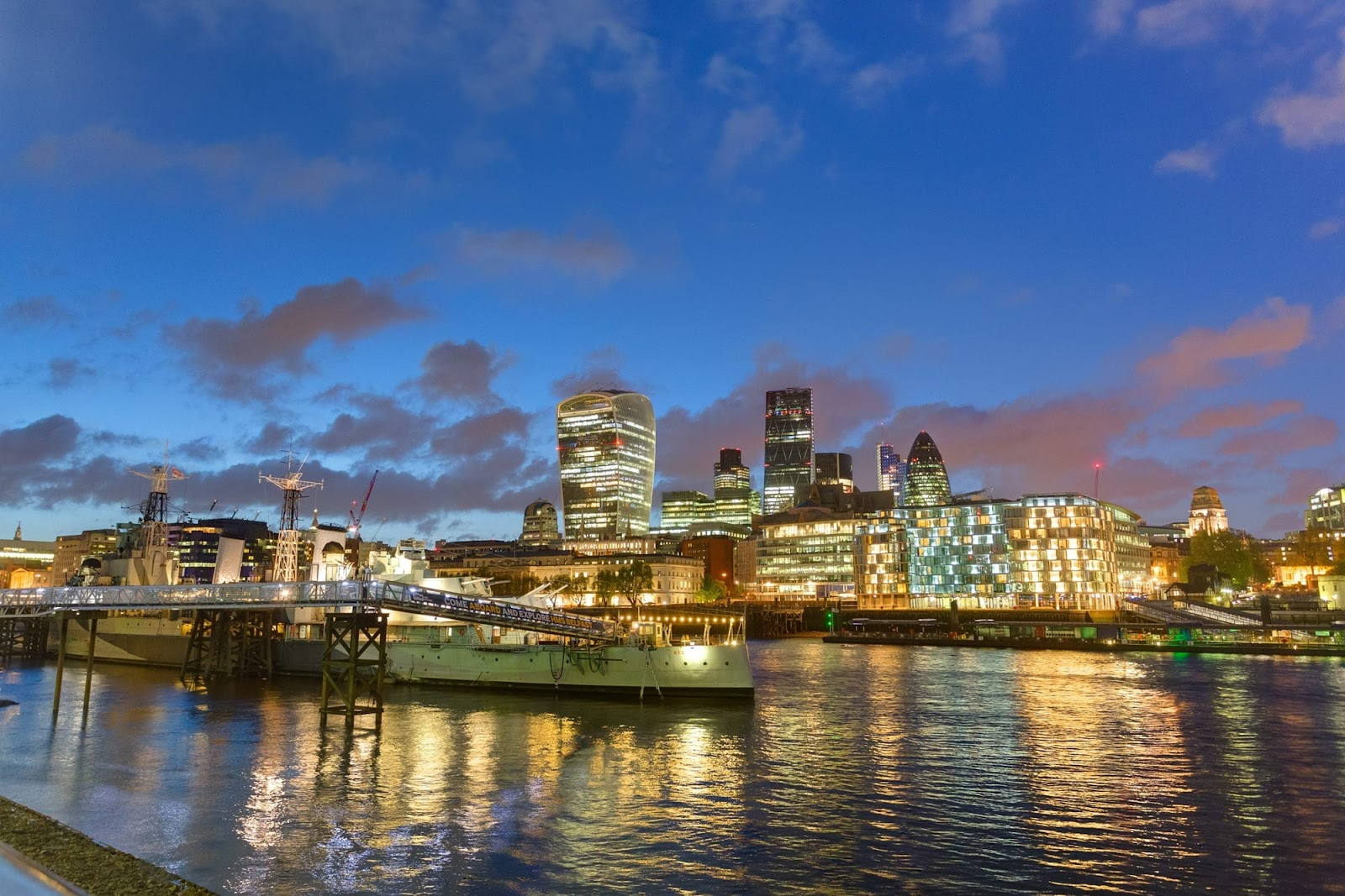 HMS Belfast and the city of London at night 2
