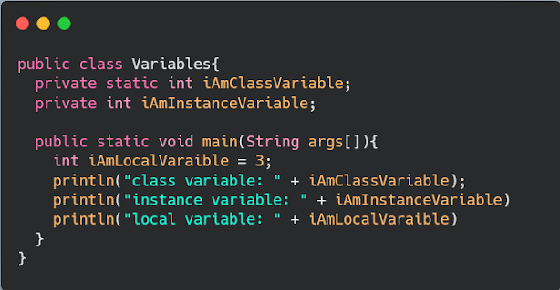 Difference between class, instance and local variables in Java? Example
