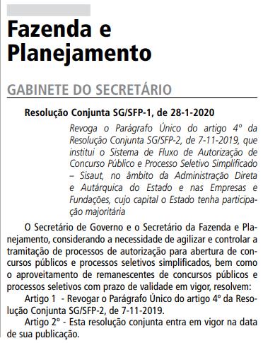 Concursos São Paulo 2020: resolução conjunta visa dar celeridade aos certames