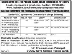 SGGSJ Govt College Jobs 2017 indgovtjobs