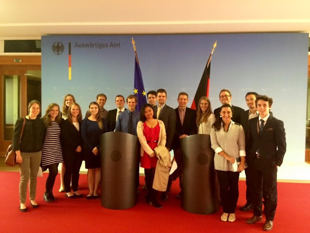 Brianna Gasgonia: #StudyAbroadBecause... you'll never forget it or regret it! From one State Department to another! With the other interns at the German Foreign Office, where we took a tour and had a discussion with German diplomats.
