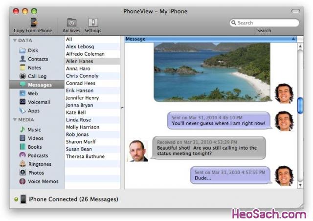 Hình 7 - Cách sao lưu dữ liệu trên iPhone, iPad, iPod và MacBook với PhoneView