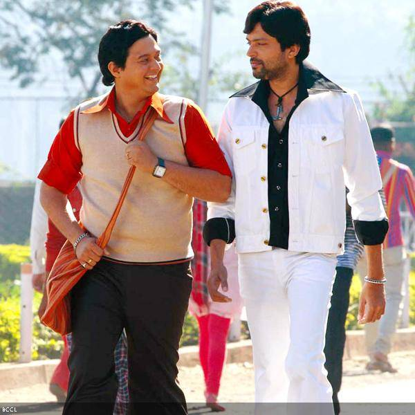 Swapnil Joshi and Ankush Choudhary in a still from the Marathi movie Duniyadari.