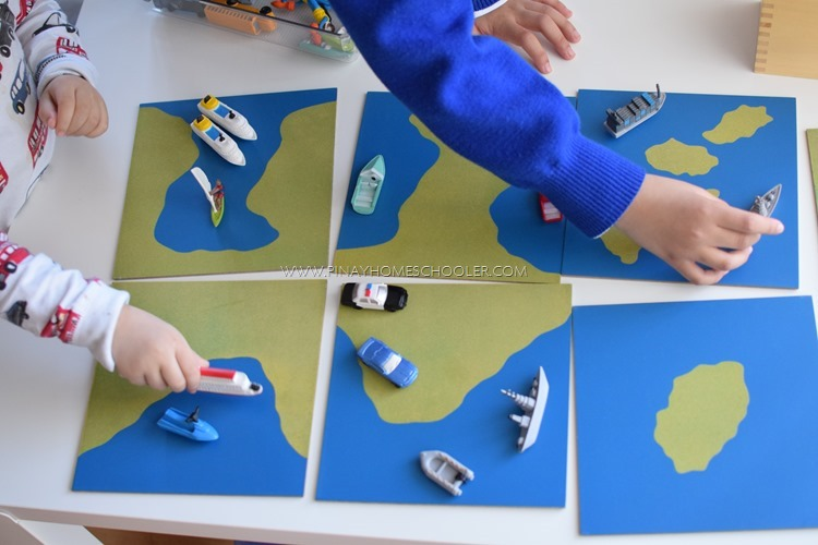 Montessori land and water sandpaper cards
