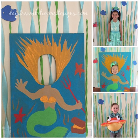 diy mermaid party photo booth prop and backdrop