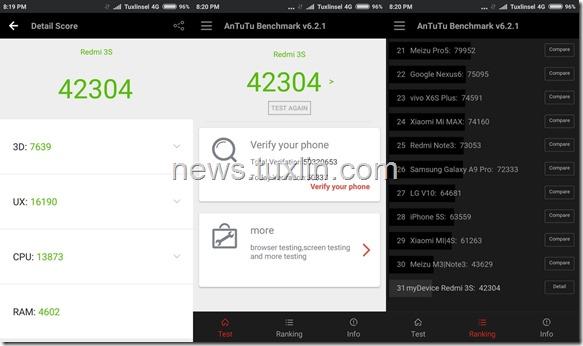 Benchmark Xiaomi Redmi 3S AnTuTu v6