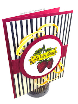 Linda Vich Creates: Gardening With Market Fresh: Part Two. Juicy, red strawberries, looking fresh and ready to eat, are stamped with the Market Fresh stamp set and adorn a black striped card front, embellished with both Cherry Cobbler and Crushed Curry ribbons.