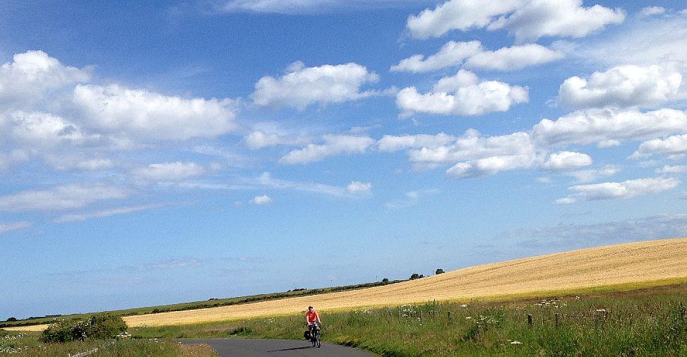 Miri on the Bike zwischen Low Hauxley und Amble, England, National Cycle Route 1, Nordsee-Radweg