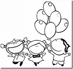 colorear niño con globos