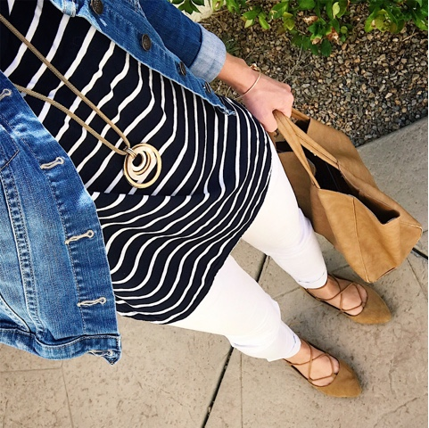 Thritty Wife, Happy Life- Daily outfits. Navy stripes with white pants
