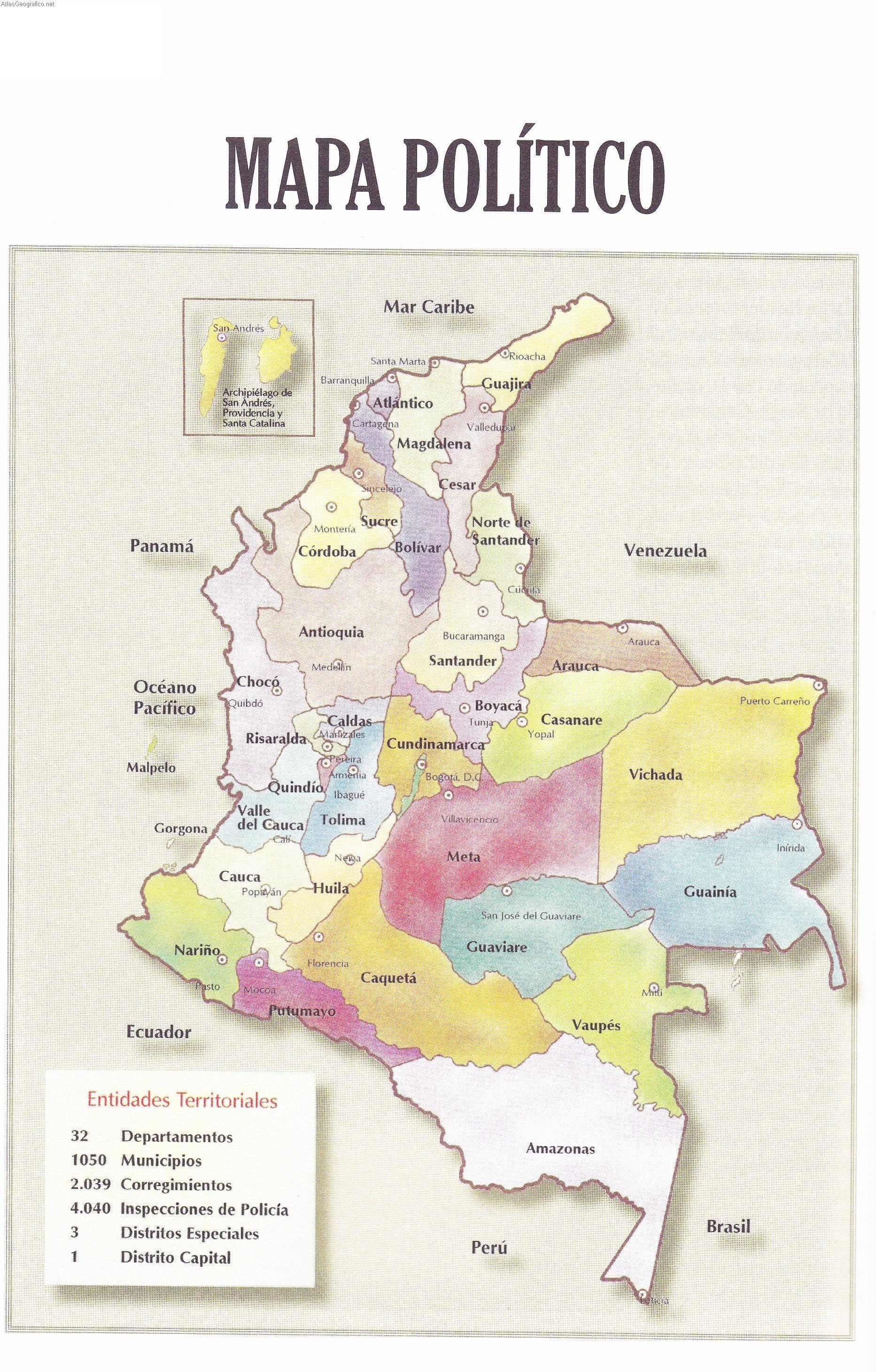 Mapa politico de Colombia para imprimir 3