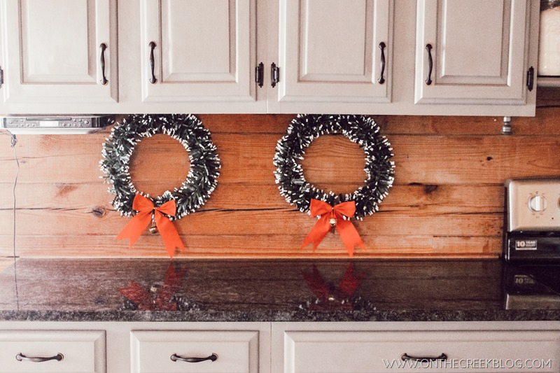 Easy Christmas decorating ideas for the kitchen using Dollar Tree wreaths!