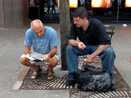 This man listened to me preach the gospel message from the sketch board, and Eric got to open the Scriptures with him.