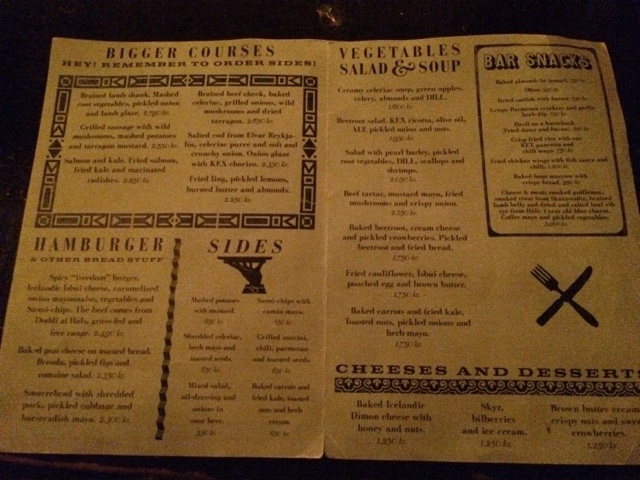 Kex hostel menu on Iceland food and drink