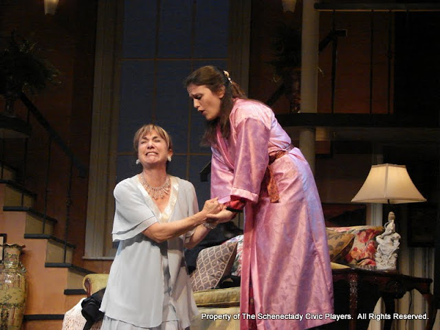 Benita Zahn and Stephanie G. Insogna in THE ROYAL FAMILY (R) - December 2011.  Property of The Schenectady Civic Players Theater Archive.
