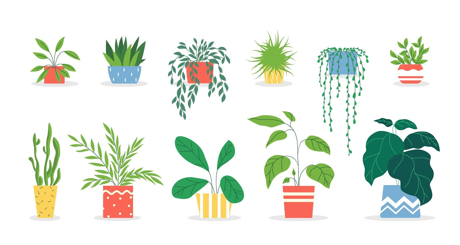 Potted Plants Set Free Download Vector CDR, AI, EPS and PNG Formats