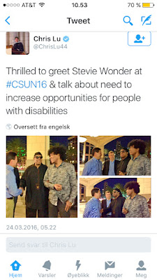 Twittermelding og bilde om at Stevie Wonder besøkte konferansen.