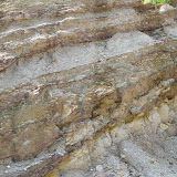 Formation of sedimentary layers of white clay, Tamilnadu, India