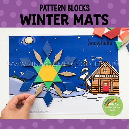 Winter Themed Pattern Blocks Puzzle Mats