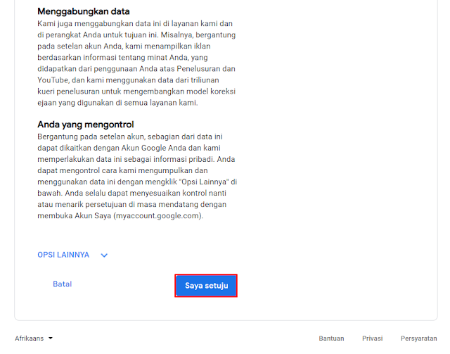 """Konfirmasi Ketentuan Privasi dan Persyarata Dari Google Klik Tombol """"Setuju"""" Untuk Melanjutkan"""
