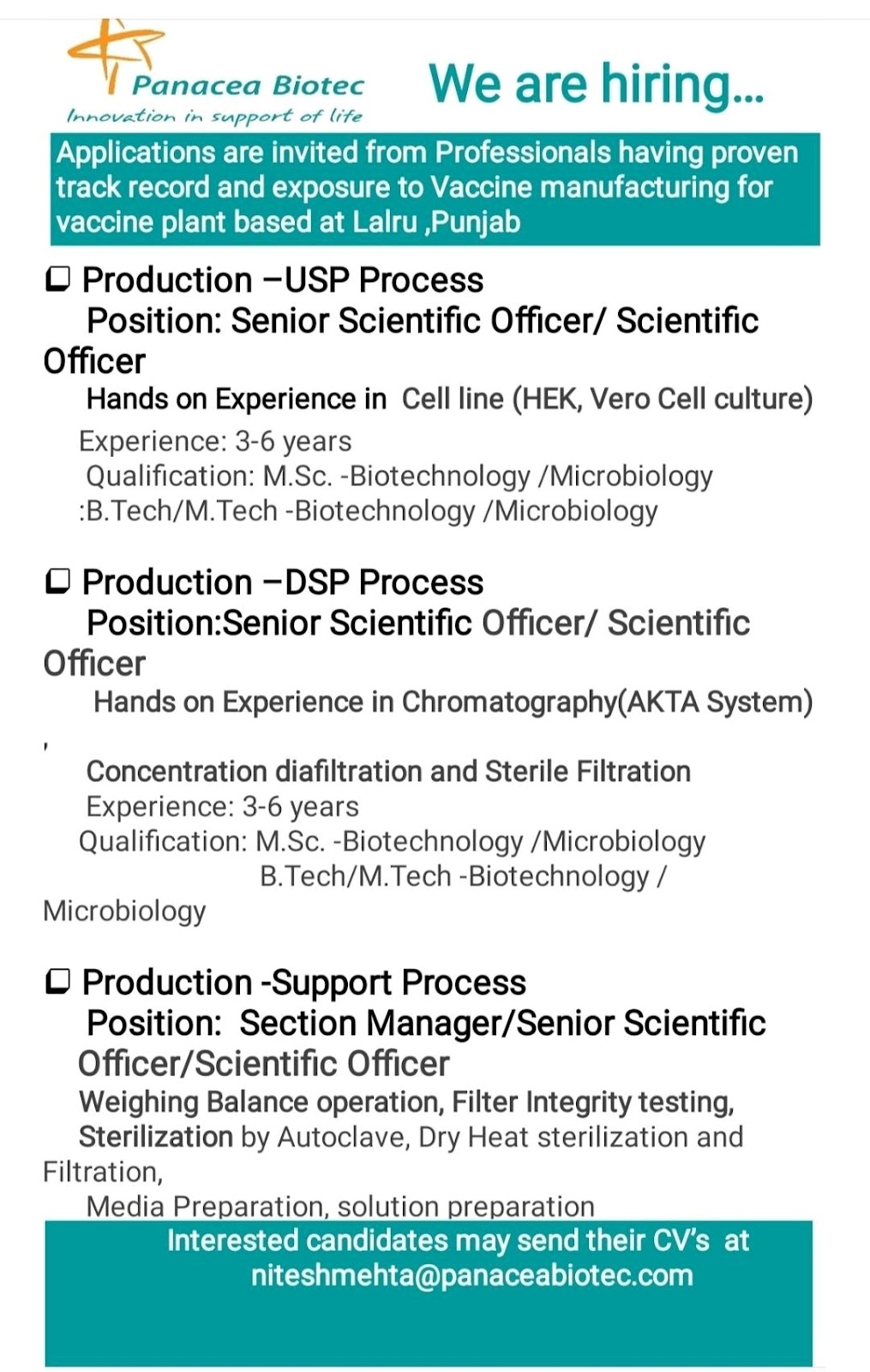 Multiple Opening For Production In Panacea Biotech