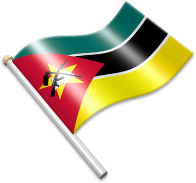 The Mozambican flag on a flagpole clipart image
