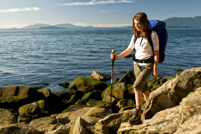 A Chuckanut hiker navigates along rocky shorelines and rain-shadow beaches.Credit: Peter James