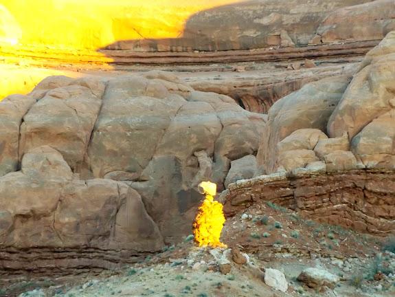 Freaky E.T. rock formation glowing in the last light before sundown