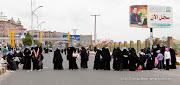 The security checkpoint on the women's side. Friday prayer on 60 Meter Rd, Sana'a, Yemen جمعة الوفاء لأبين  في شارع الستين بصنعاء