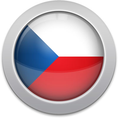 Czech flag icon with a silver frame