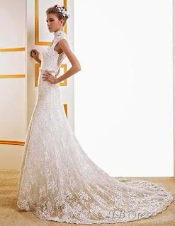 Vestido de novia en tul bordado