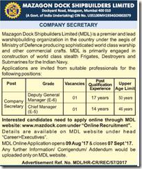 MDL Company Secretary Jobs 2017 www.indgovtjobs.in